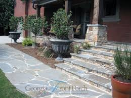 Distinctive Stone Front Porch Steps Walkway