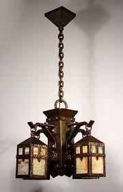 unusual antique arts crafts figural chandelier with monks heads c 1900 nc844 for