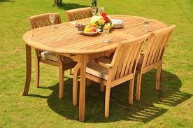 New5 pc luxurious grade a teak wood outdoor dining set 117 double extensions oval dining table and 4 somerset stacking arm captain chairs whdsss4