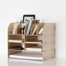 diy wood hand made desk organizer office school supplies desk accessories organizer 13 blocks file tray