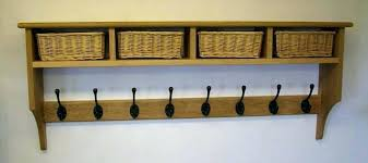 wall coat rack with shelf oak coat rack shelf with 4 storage baskets oak wall coat photo 1 of 5 oak