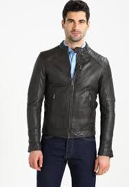 agency leather jacket dark grey