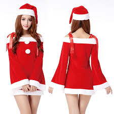 Women Christmas Apparel Female Santa Costume, Red Christmas Dress ...