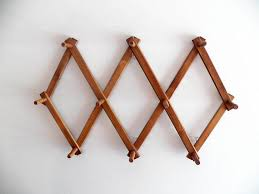 Folding Coat Rack Vintage Wood Hat Rack Accordion Long Peg Folding Coat Rack 13