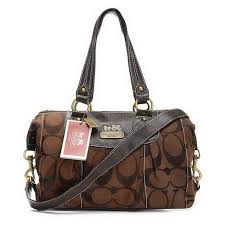 Coach Legacy Logo Signature Medium Coffee Luggage Bags EHH