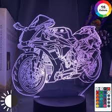Đèn Led xe máy mát mẻ cho trẻ em Trang trí phòng ngủ Món quà sinh nhật độc  đáo cho trẻ em Phòng học Bàn làm việc Đèn 3d Xe máy