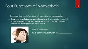 ing  effective communication lecture   nonverbal communıcatıon    four functions of nonverbals there are four basic functions of nonverbal communication   they can