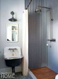 corrugated metal bathroom steel shower stall image wall