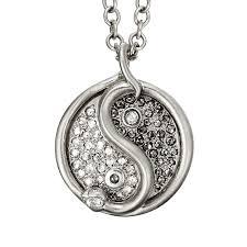 snake yin yang necklace pavé shown in sterling silver