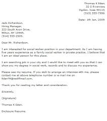 Signature At End Of Cover Letter Social Work Cover Letter Examples