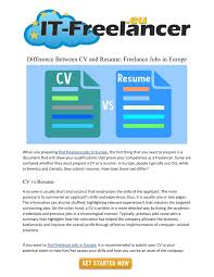 Resume Powerpoint Presentation Ppt Difference Between Cv And Resume Freelance Jobs In