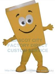 new custom advertising costumes yellow blue red recycled notebook book mascot costume cartoon character theme mascotte fancy kit 1979 cartoon character