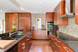 modern kitchen cabinets cherry. Cherry-stained Cabinets Warm Up The Modern Kitchen. Photo: Andrea Hubbell Kitchen Cherry N