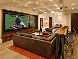 Interior : Inspirational Traditional Basement Media Room Design Showing U  Shape Brown Leather Sofa And Rustic Wood Bar Table Plus High Counter Bar  Stools ...