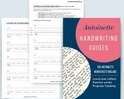 Antoinette Handwriting Practice Sheets Lowercase And Uppercase Printables Digital Worksheets Instant Download