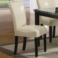 cream vinyl upholstered parson dining side chair by coaster set of 2