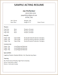 Free Acting Resume Template 74 Images Free Acting Resume No