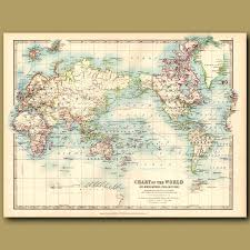 Chart Of The World On Mercators Projection Genuine Antique