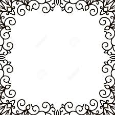 Border Black And White Swirl Floral Frame Old Black Doodle Border Black And White