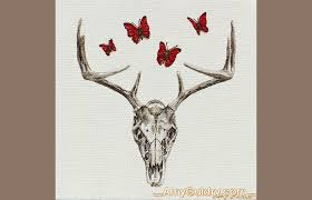 untitled deer by amy guidry acrylic on canvas 4 x 4 c amy guidry 2016 sold