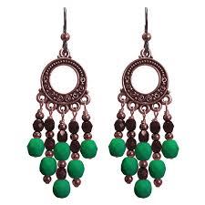 neon emerald green copper chandelier earrings