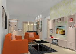 Orange Couch Living Room Orange Sofa Render Modern Living Room China 3d House