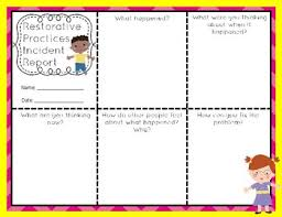 Restorative Practices Primary Questions Incident Report K 3