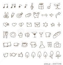 シンプル手描き食べ物文具音符イラストのイラスト素材 30477346