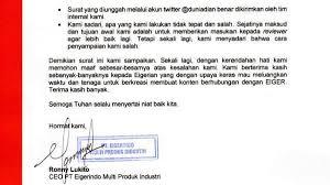Surat keberatan yang dilayangkan eiger viral setelah dian mengunggahnya ke media sosial twitter. Viral Surat Keberatan Di Medsos Ini Pernyataan Lengkap Ceo Eiger