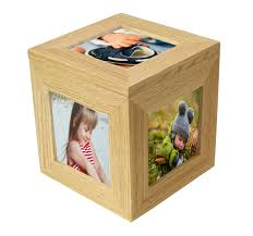 natural oak wooden 5 picture photo cube keepsake box 5 pictures of 3 x 3 inches