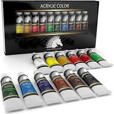 com acrylic paint set artist quality paints for painting canvas wood clay fabric nail art ceramic crafts 12 x 12ml heavy colors