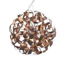 Copper Ribbon Light Dar Raw1364 Rawley 9 Light Satin Copper Ceiling Pendant