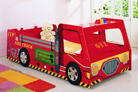 interesting fire truck bunk bed design for boys bedroom decoration with colorful area rug also white