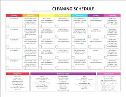 Household Cleaning Chore Chart House Cleaning Schedule Template Checklist Word