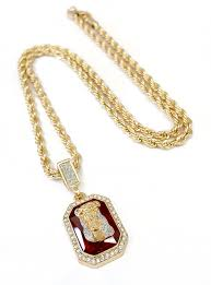 summer new 18k gold plated ruby piece necklace with 24 rope chain 13126