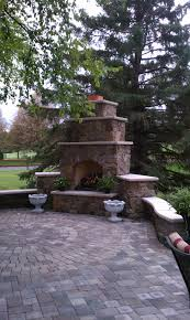 custom outdoor fireplace maronne blend fieldstone eiklor gas log