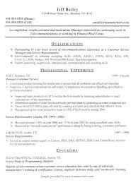 Telecommunications Resume - Resume Templates