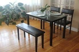 table 2 chairs and bench. 4 pc dining dinette kitchen set rectangular table 2 chairs bench in espresso black finish and r