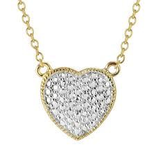diamond accent puffed heart necklace in sterling silver and 18k gold plate