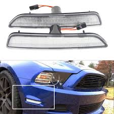 2014 Mustang Side Marker Lights Us 37 8 10 Off 2pcs Set Clear Lens Front Side Marker Lamps With 27 Smd Amber Led Lights For Ford Mustang Front Bumper 2010 2014 Replace Halogen In