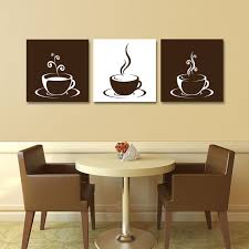 set of 3 coffee cup canvas wraps espresso art kitchen art wall art on