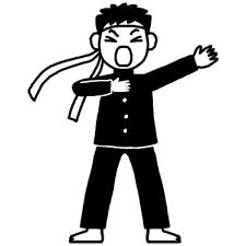 応援3運動会体育祭大きな行事学校無料白黒イラスト素材
