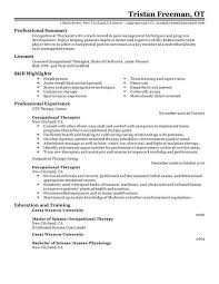 Occupational therapist resume example