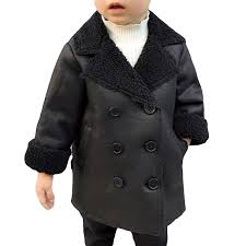 boys leather jacket toddler wool lining winter coats for 2 9y on newchic