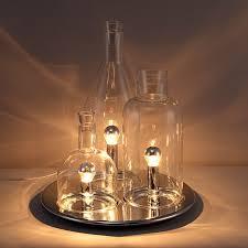 modern triple light creative wine bottle table lamp round tray base