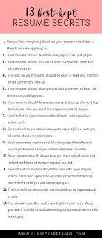 The 13 Best Kept Resume Secrets Resume Tips Pinterest Tossed