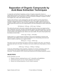 Benzoic Acid Extraction Flow Chart Separation Of Organic Compounds By Acid Base Extraction
