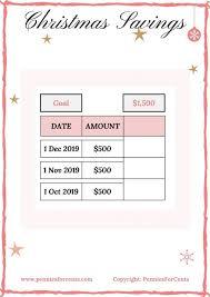 Christmas Savings Plan Chart Christmas Savings Challenge Save Now Pennies For Cents