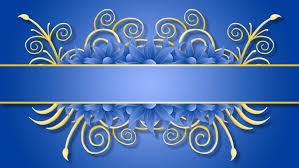 growing golden title frame on blue background with flowers hd cg animation
