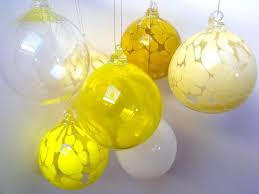 Citron Yellow Hand Blown Glass Bauble, Christmas Decoration 9.00